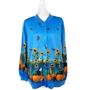 Blair XLG Blue Snap Button Up Sweater Cardigan Cat